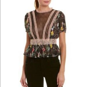 FOXIEDOX Womans Kinsley Lace Floral Blouse Top